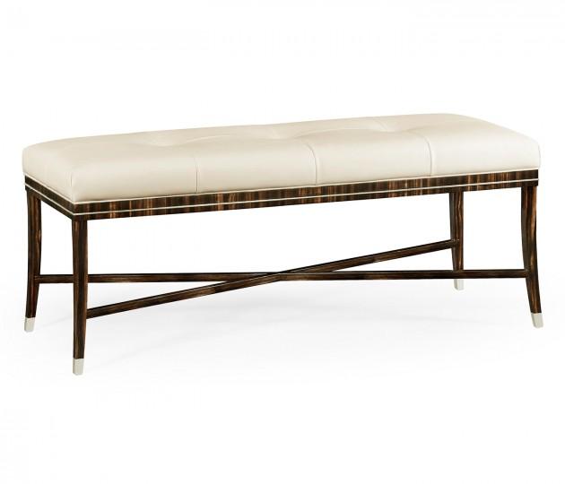 Macassar Ebony Bench, Upholstered in White Leather