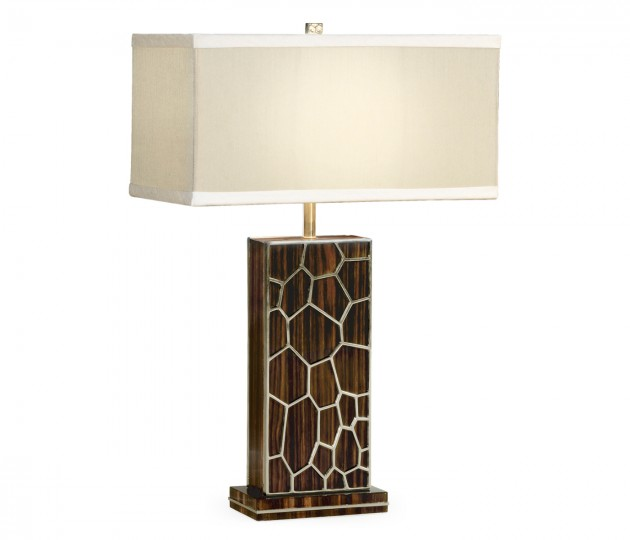 Macassar Ebony Table Lamp with White Brass Inlay
