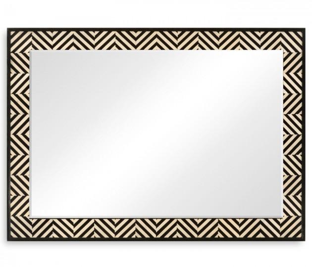 Classic Ebony & Ivory Herringbone Mirror