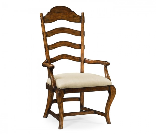 Rustic Walnut Dining Arm Chair, Upholstered in MAZO
