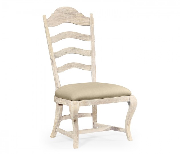 Limed Acacia Dining Side Chair, Upholstered in MAZO