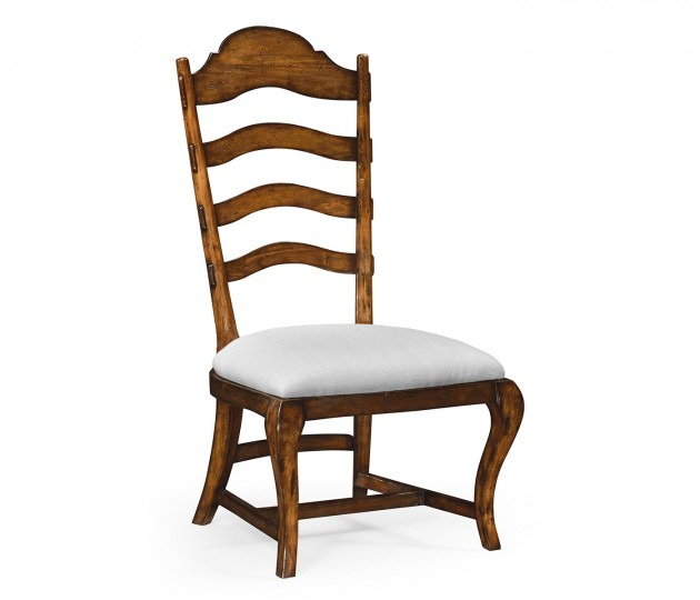Rustic Walnut Dining Side Chair, Upholstered in COM