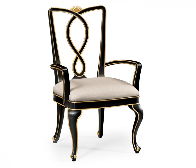 Black painted dining armchair