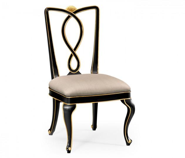 Black painted dining sidechair