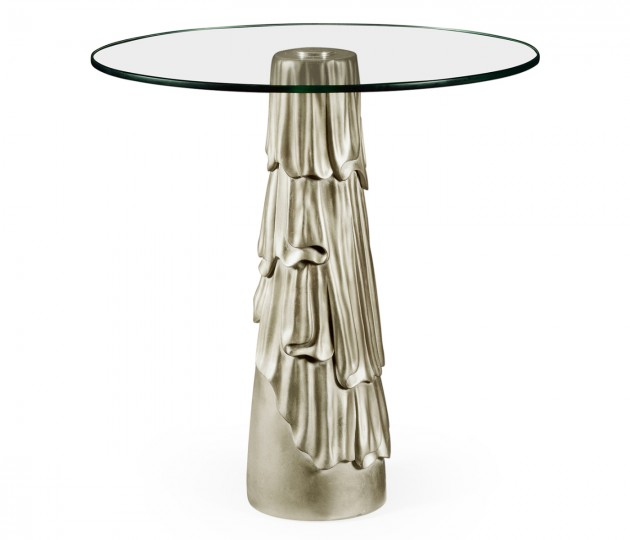 Gilded antique silver leaf round drink table