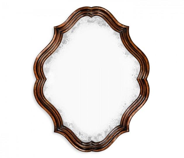 Rustic walnut oval antique mirror