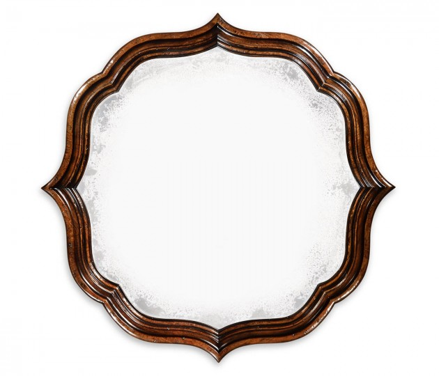 Rustic walnut round antique mirror