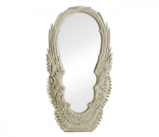 Classical Silver Winged Floor Mirror