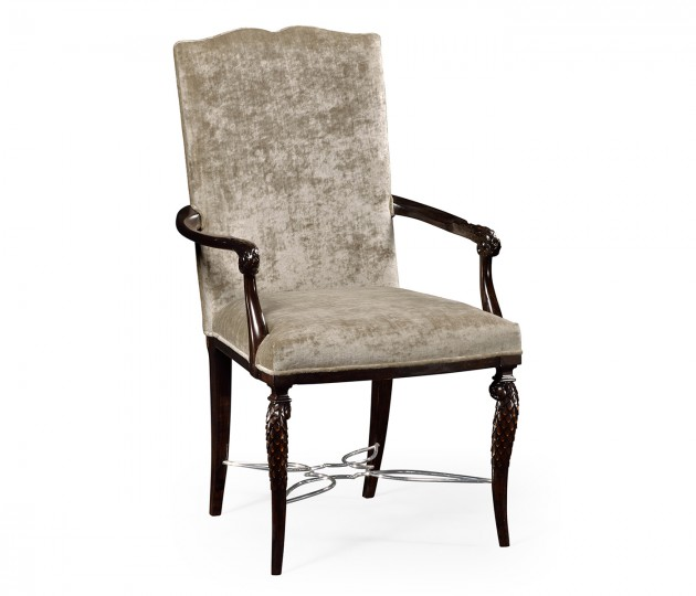 Icarus Dining Arm Chair, Upholstered in Calico Velvet