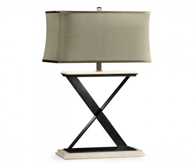 Artisan Table Lamp in Limed Acacia with Wrought Iron