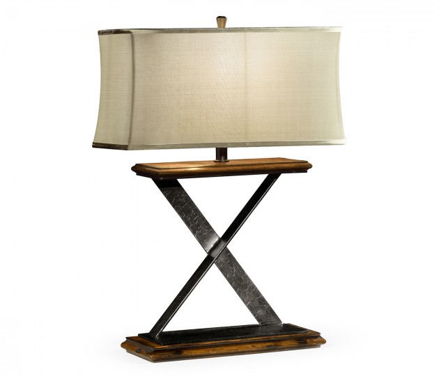 Artisan Table Lamp in Rustic Walnut with Wrought Iron