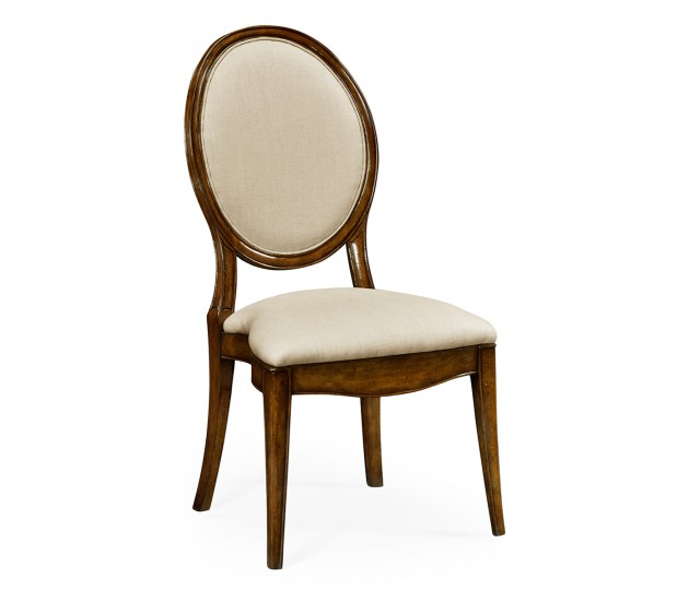 Stacking Spoon Back Walnut Dining Side Chair, Upholstered in Mazo