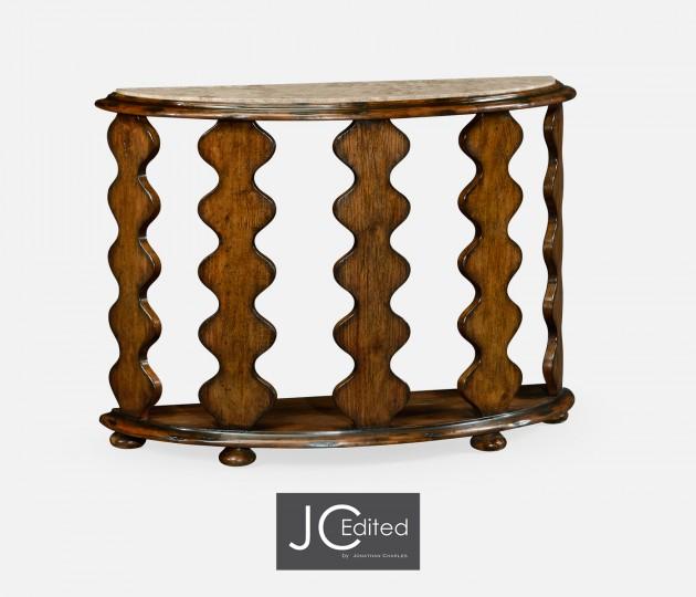 Demilune Console Table in Rustic Walnut