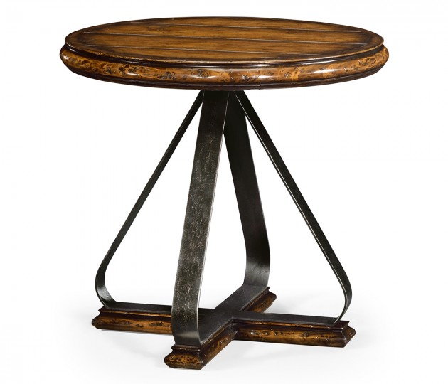 Round Side Table with Iron Base in Rustic Walnut