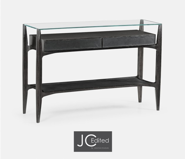 Architects Black Leather & Black Mocha Oak Console Table with Drawers and Glass Top