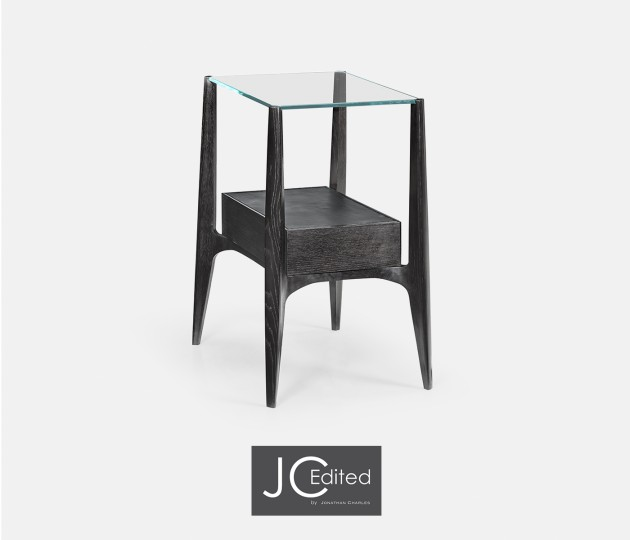 Rectangular Architects Black Mocha Oak End Table with Under-tier and Glass Top