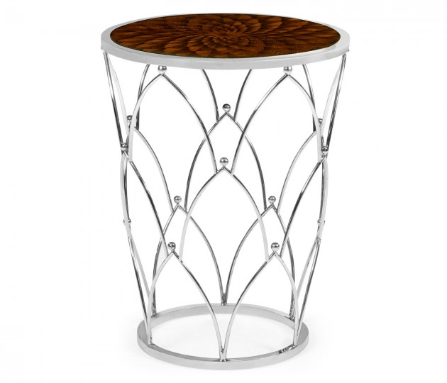 Feather Inlay & Stainless Steel Round Side Table