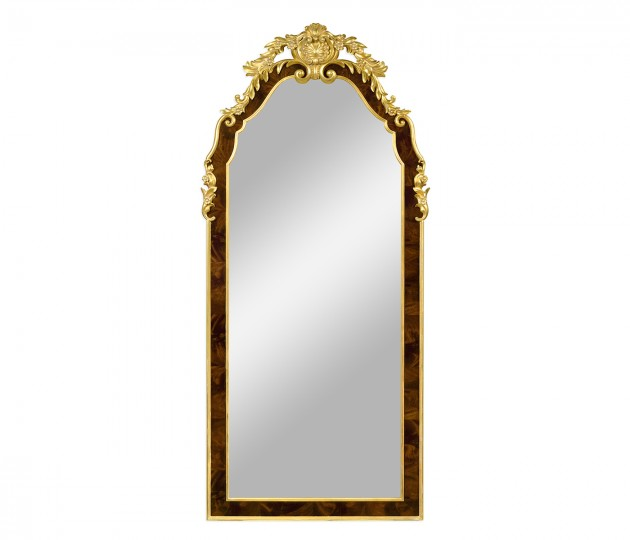 Standing mirror with gilt carved detailling