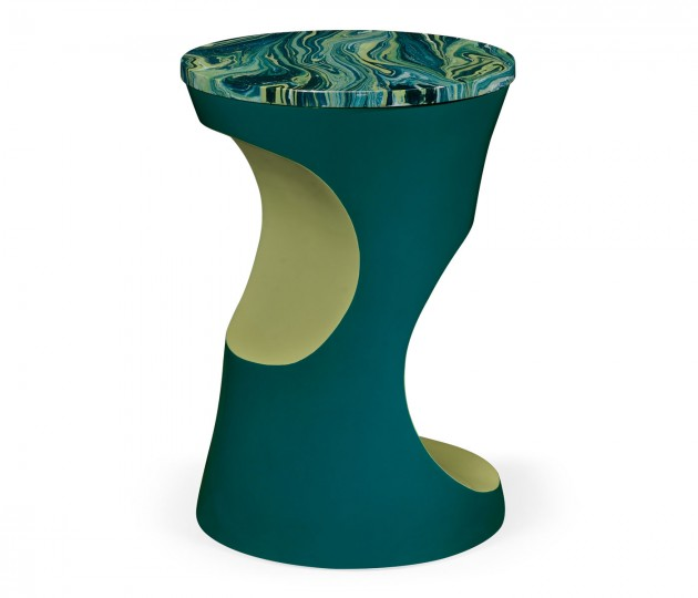 Teal Round Cut-Out Lamp Table