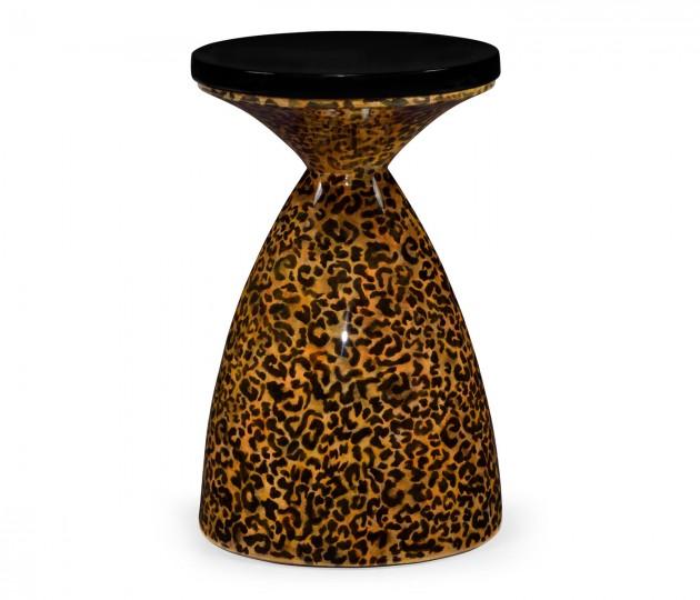 Round Leopardskin & Black Wine Table