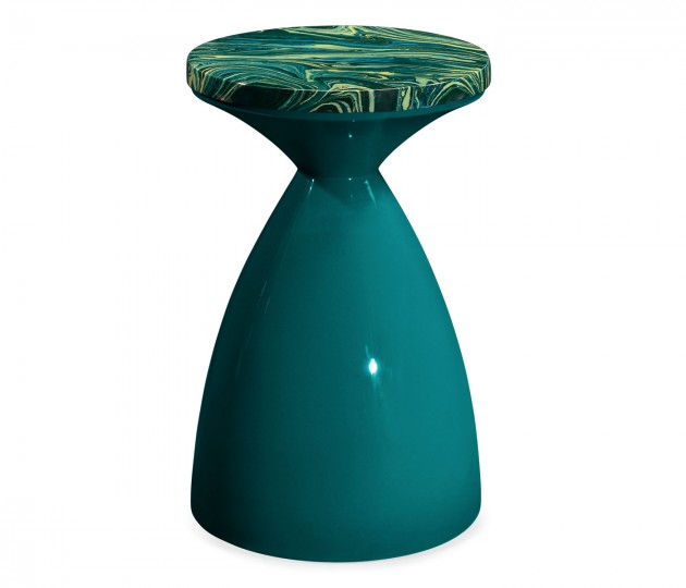 Round Teal & Graffiti Wine Table
