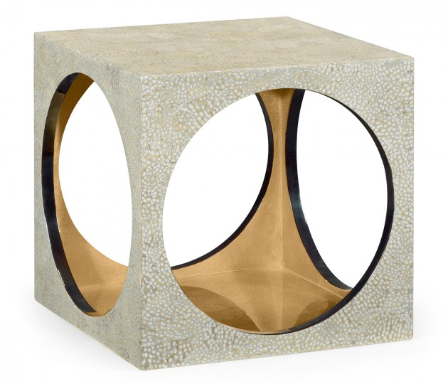 Square Circular Cut-Out Eggshell Stool