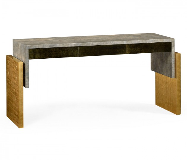 Rectangular Eggshell & Gilded Console Table