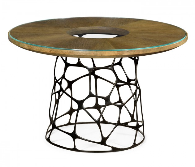 Circular Oak & Brass Coffee Table