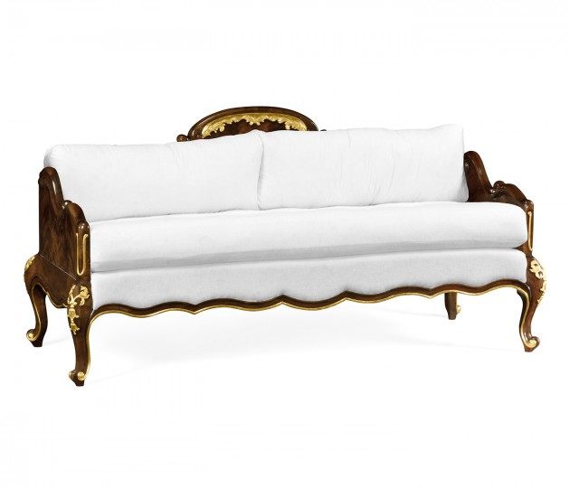 Bedroom bench with gilded carving, upholstered in COM