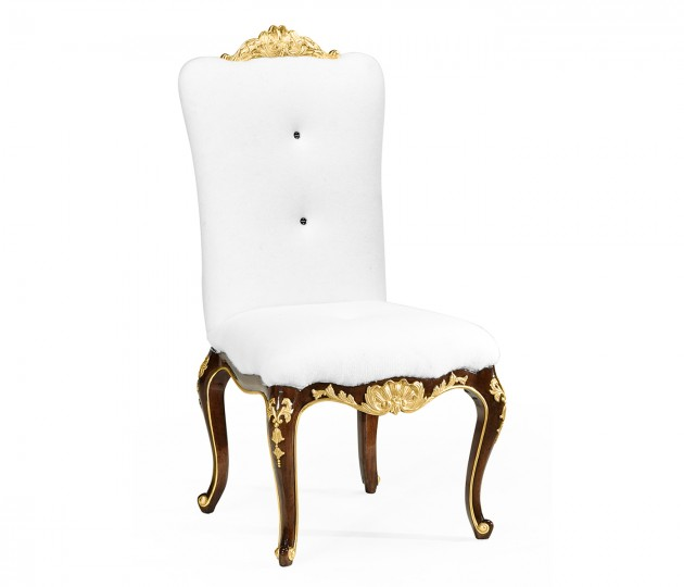Dining Side Chair with Gilt Carved Detailing, Upholstered in COM by Distributor