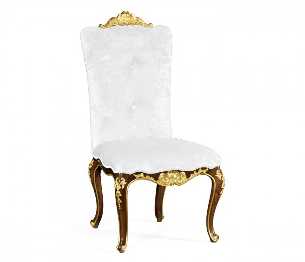 Dining side chair with gilt carved detailing, upholstered in COM