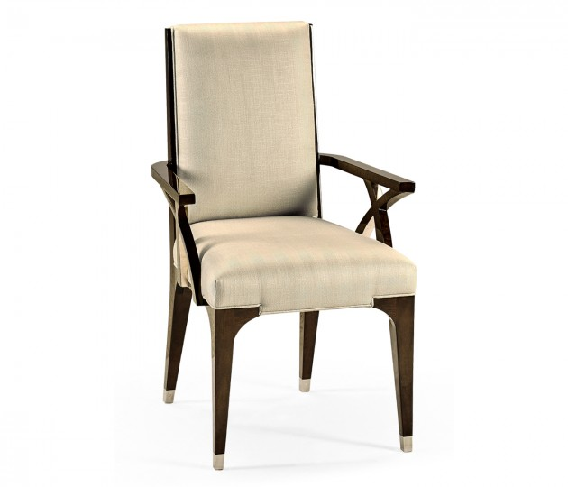Black Eucalyptus Dining Arm Chair, Upholstered in MAZO