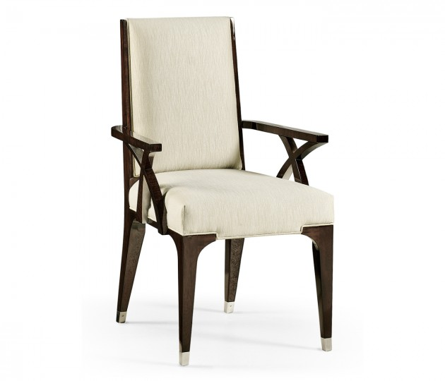 Black Eucalyptus Dining Arm Chair, Upholstered in Castaway