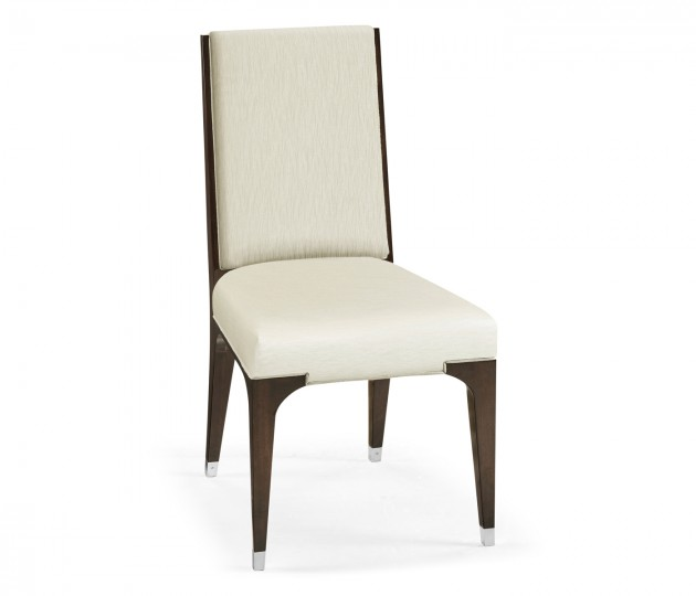 Black Eucalyptus Dining Side Chair, Upholstered in Castaway