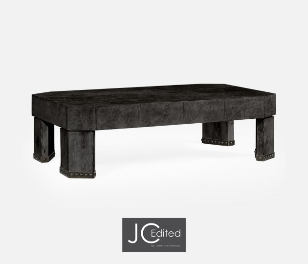 Rectangular Oyster Black Mocha Oak Coffee Table