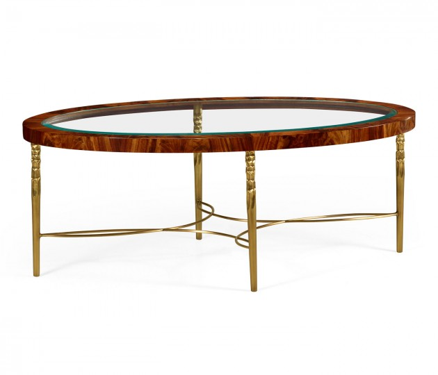 Oval coffee table in Tropical walnut crotch with brass base
