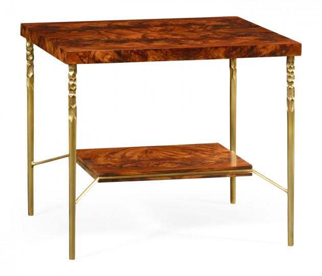 Square side table in Tropical walnut crotch with brass base