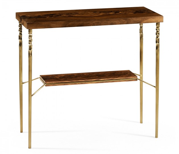 Console table in Tropical walnut crotch with brass base