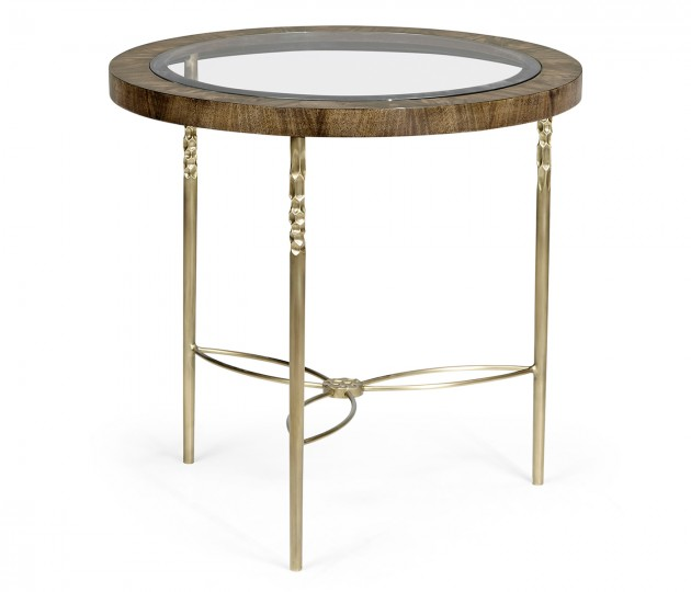 Round Bleached Mahogany & Brass Side Table with Clear Glass Top