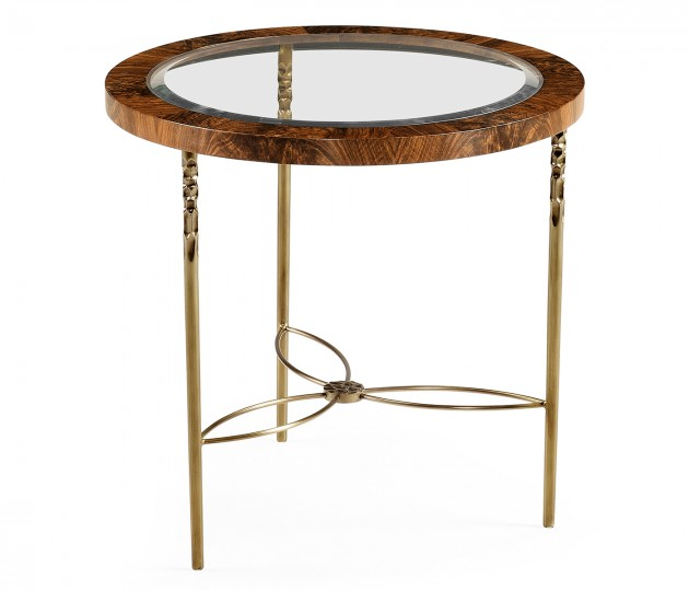 Round side table in Tropical walnut crotch with brass base