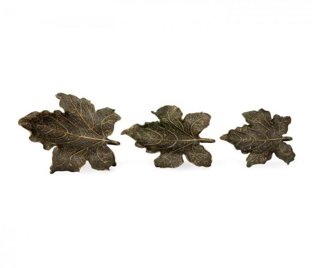 Three Rustic Bronze Leaf Dishes