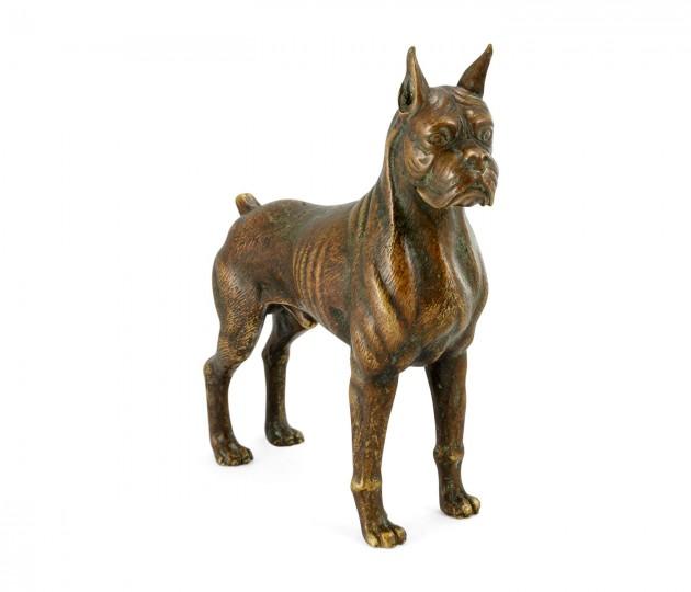 Copper Toned Bronze Boxer Dog