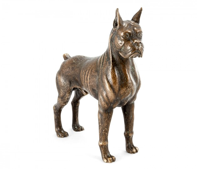 Copper Toned Bronze Boxer Dog