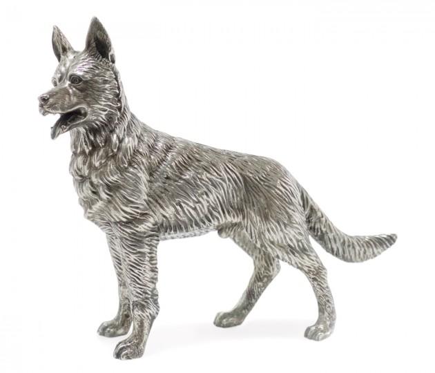 Antique White Brass German Shepherd Dog