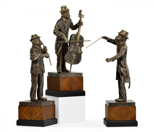Antique Dark Bronze Monkey Orchestra Set