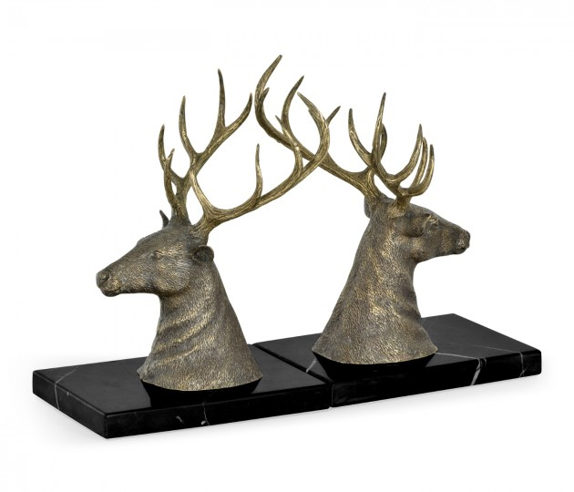 Pair of Light Brass Deer Mounted Bookends