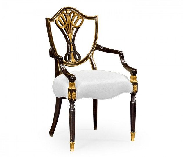 Sheraton Dining Arm Chair with Shield Back in Painted Black & Gilded Details, Upholstered in COM by Distributor