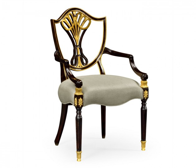 Sheraton Dining Arm Chair with Shield Back in Painted Black & Gilded Details, Upholstered in MAZO