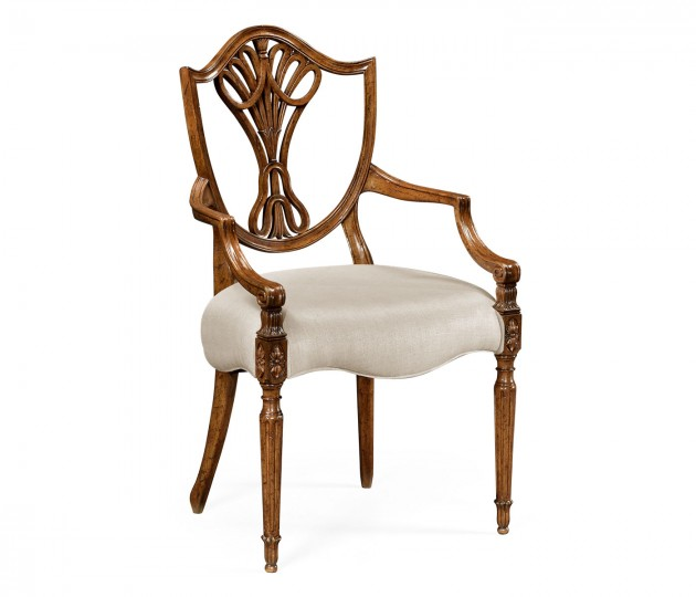 Sheraton Dining Arm Chair with Sheild Back in Brown Mahogany, Upholstered in MAZO