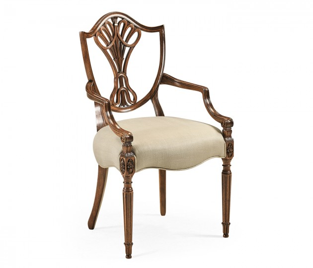 Sheraton Dining Arm Chair with Shield Back in Antique Mahogany, Upholstered in MAZO